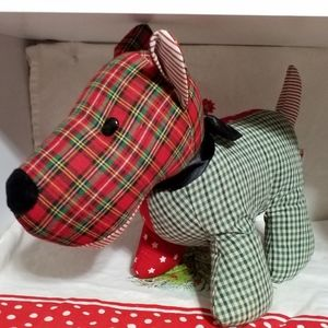 Scottie Dog Plush Patchwork Christmas Colors 11""